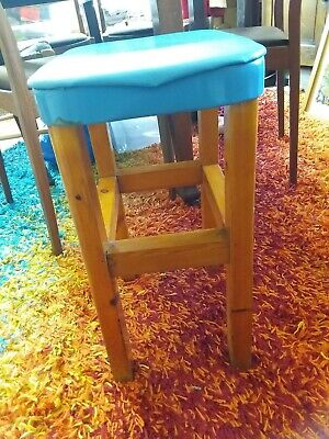 Vintage Handmade Rustic Wooden Stool with metal and upholstered blue seat