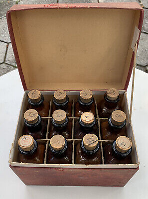 Rare Antique Homeopathic Pharmacy Bottles In Box