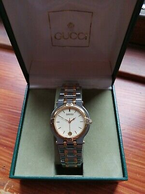 Gucci Mens 9000 Gold Plated Watch With Date. Steel Two Tone Bracelet 32Mm  With
