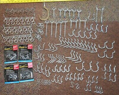 144 LOT Garage Pegboard Hooks & Hangers New & Used Assorted Sizes Shapes Styles