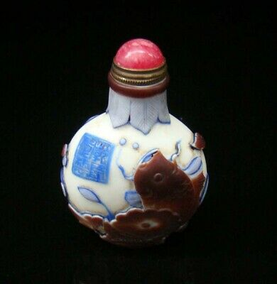 100% Handmade Carving Painting Snuff Bottles old peking Colored glaze 041