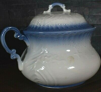 Antique Vintage Porcelain Chamber Pot White & Blue with Matching Lid P99