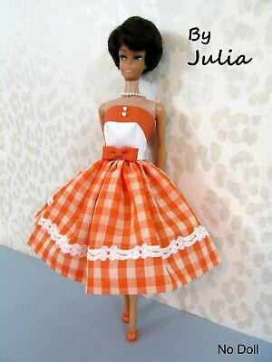 2 Pc Vintage Barbie Doll 60's OOAK Style SWING DRESS Orange & Peach Checked