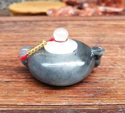 Chinese Natural HeTian Jade Hand-Carved Statue Teapot Flagon Exquisite 008