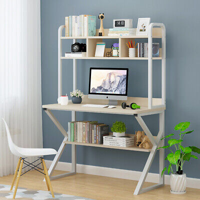 White Computer Desk Laptop PC Study Table Workstation w/ Shelves Home Furniture