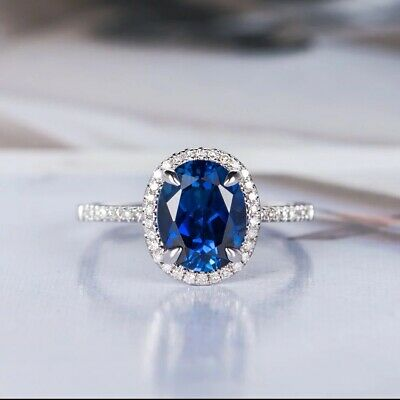 Fashion 925 Silver Rings Round Cut Blue Sapphire Anniversary Girls Rings Size 7