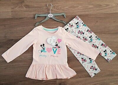 Disney Baby Minnie Mouse Girls Clothes Set Top Leggings Size 12 - 18 Months Gift