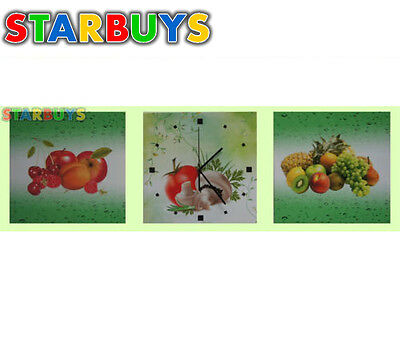 3x Collage Panel Canvas Prints Wall Art With Built In Lights working Wall Clock