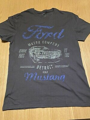 Mens Ford Mustang Grey Cotton T Shirt in Size Small