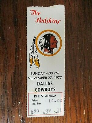 Vintage- Washington Redskins Vs Dallas Cowboys Ticket Stub - 11/27/77 - Rfk