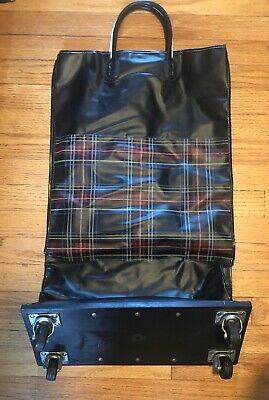 Vintage Plaid Rolling Folding Grocery Shopping Bag Cart Basket