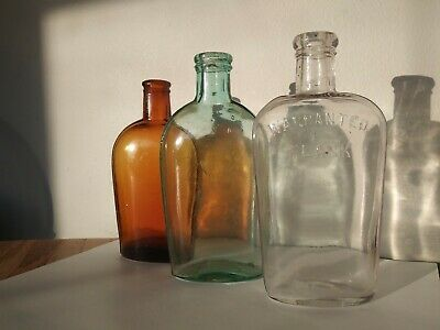 WHISKEY FLASK 1800 s 1/2 pints lot of 3