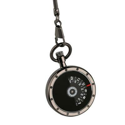 Creative Open Face Turntable Black Dial Pocket Watch Men Women Snake Fob Chain S