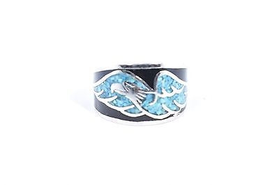 Vintage Hawk Turquoise Inlay Ring Silver White Bronze Size 11