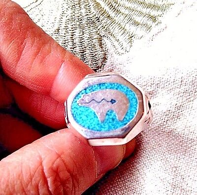 Vintage Bear Turquoise Inlay Ring Silver White Bronze Size 12.5