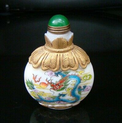 100% Handmade Carved  Painting Gilt Snuff Bottles old peking Colored glaze 021