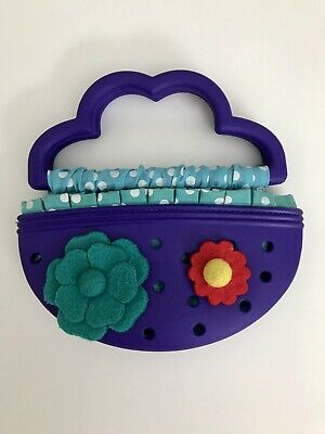Crocs Girls Purse Purple with Blue/White Polka Dot Lining, Felt Flower Pins