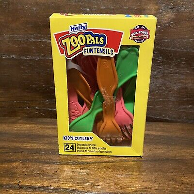 Hefty Zoo Pals Funtensils Forks Spoons Knives 20 Pieces