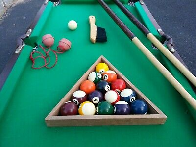 1/3 Size Genuine Wooden Pool Table with Balls, 2 Cues, Chalk, Rack, Brush
