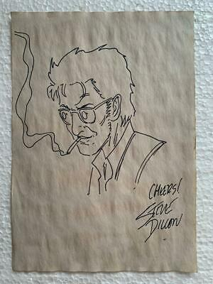 Steve Dillon Drawing On Paper Signed & Stamped Hand Carved