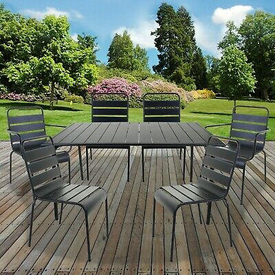 7PC Bistro Sets Outdoor Garden Patio Furniture Slatted Grey Table & Chairs