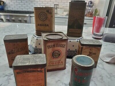 ANTIQUE Lot of 7 Advertising Cocoa, Allspice, Barley Tins