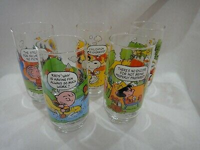 Set Of 5 Vtg Collectible McDonalds Camp Snoopy Glasses Peanuts