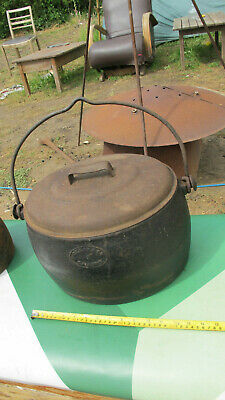 Antique Clark & co 3 Gallon Cast IRon Romany Gypsy Pot pan With Lid