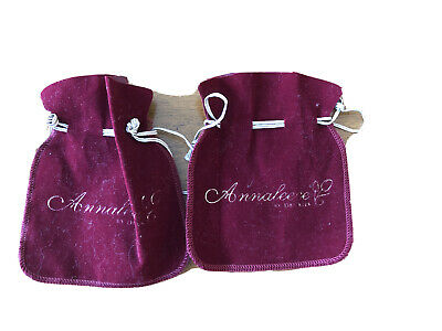 2 Annaleece by DeVRIES maroon fabric jewelry bags New
