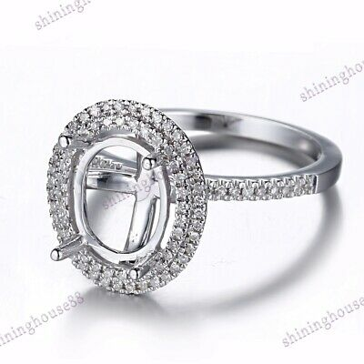 18K White Gold 8x10mm Oval Semi Mount Melee Natural SI/H Diamond Engagement Ring