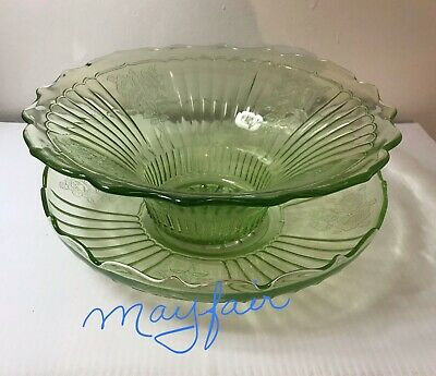 DEPRESSION GLASS    MAYFAIR  pattern    DUO OF LARGE BOWLS    GREEN   STUNNING!