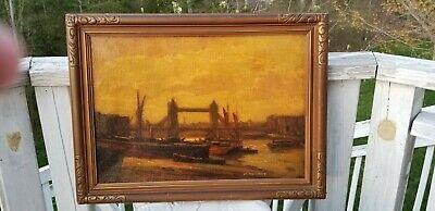 Old Antique English oil painting of Tower or London Bridge by H. Merritt