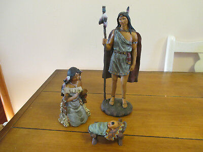 Beautiful 3 Piece Set of Indian Couple With Baby Figurines Statues
