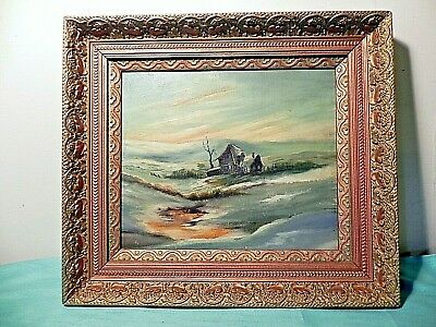 Antique 1929 oil painting of an old settlement wood house