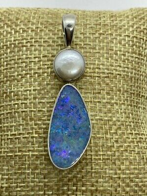 Opal Doublet & Pearl Pendant with Sterling Silver