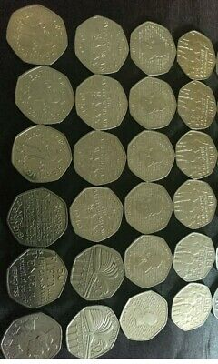 Job Lot, Collectable 50p Coins 24 Mixed. Circulated. See Picture
