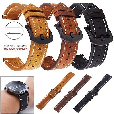 Genuine Leather 20mm 22mm Watch Strap Band Replacement Belt Bracelet Men Womens