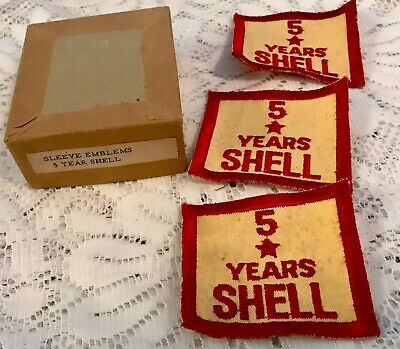 2 Shell Oil /& Gas Employee Sleeve 5 Years of Service Emblem Patch New NOS 1960s