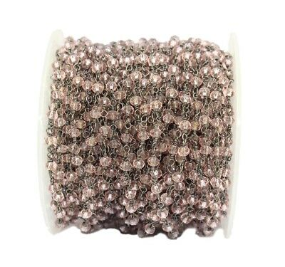 Ch00 Faceted Pink Quartz Black Plated Beaded Rosary Chain Making DIY Jewelry