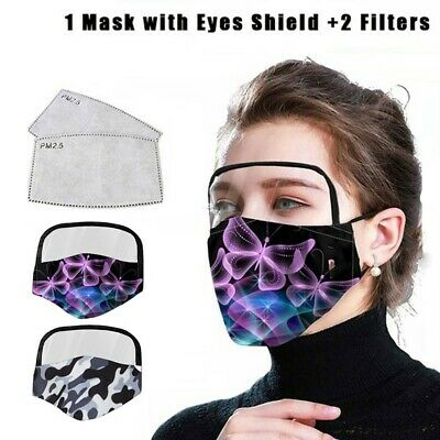 Outdoor Face Protective Print Cloth Face Mask with Eyes Shield+2PCS Mask Filters