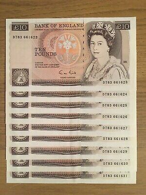 GILL £10 BANKNOTES x 9 - B354/BE164b - DT83 661623-631 aUNC consecutive £28 each