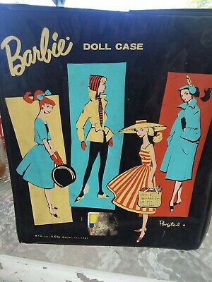 Vintage 1961 BARBIE Doll Case by Mattel Inc for Ponytal Black Vinyl 12x10x2.5