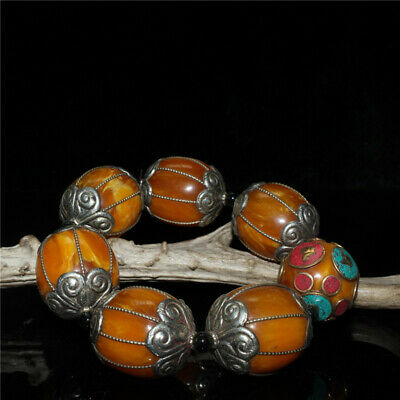 """4.72/"""" Chinese Exquisite pure copper Turquoise Beeswax Handmade beads Bracelet"""