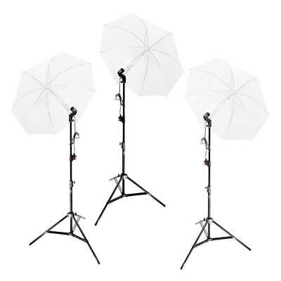 Continuous Lighting Three Head Kit 50W LED Bulbs White Translucent Umbrellas