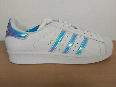 ADIDAS SUPERSTAR WHITE Metallic Silver Glitter Womens