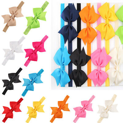 Baby Kid Girls Elastic Hair Band Bow Headband Solid Color Hair Accessories