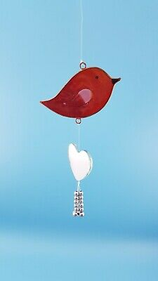 Red Bird heart mirror stained glass effect sun catcher garden gift