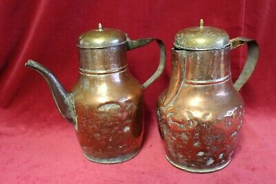 Primitive Antique Vintage French Handmade Jug/Jar Copper Tea Pot Old kettle