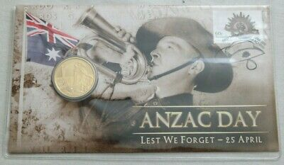 2012 ANZAC Day Lest We Forget April 25th PNC $1 Coin Stamp Set Bugler Millitary