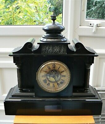 Ansonia Clock Co Slate 8 Day Mantle Clock c. 1895